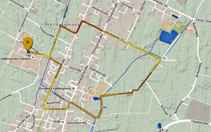 Hallbergmooser Volksfestlauf; Strecke aufgezeichnet mit meiner Suunto Ambit 3 Sport