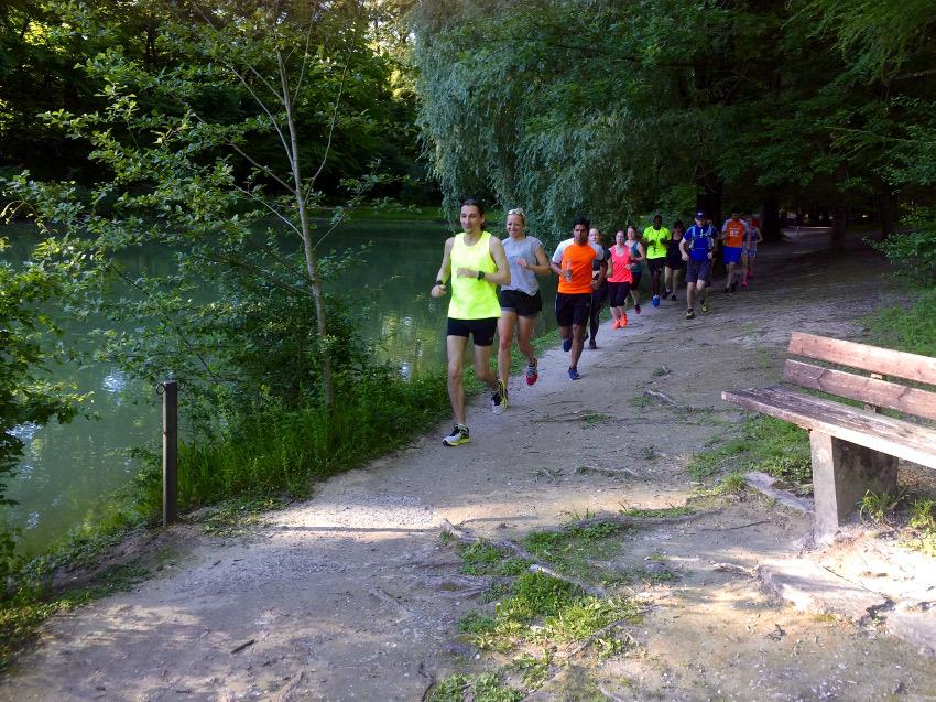 Am Hinterbrühler See gab es alles: Schwäne, Karpfen und die Leuchtkäfer aus der Never Stop Munich Trailrunning Gruppe :D