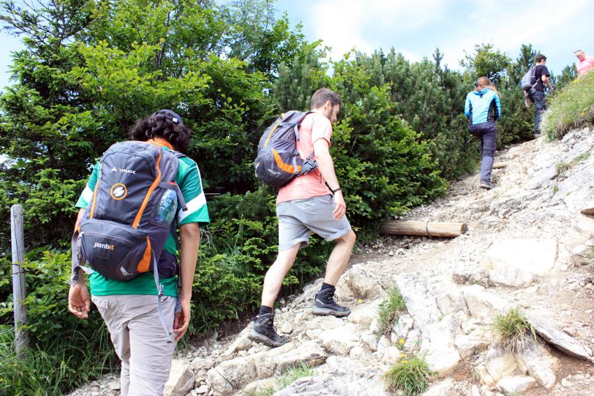 Die letzten Meter auf den Jochberg Gipfel ging es steil bergauf.