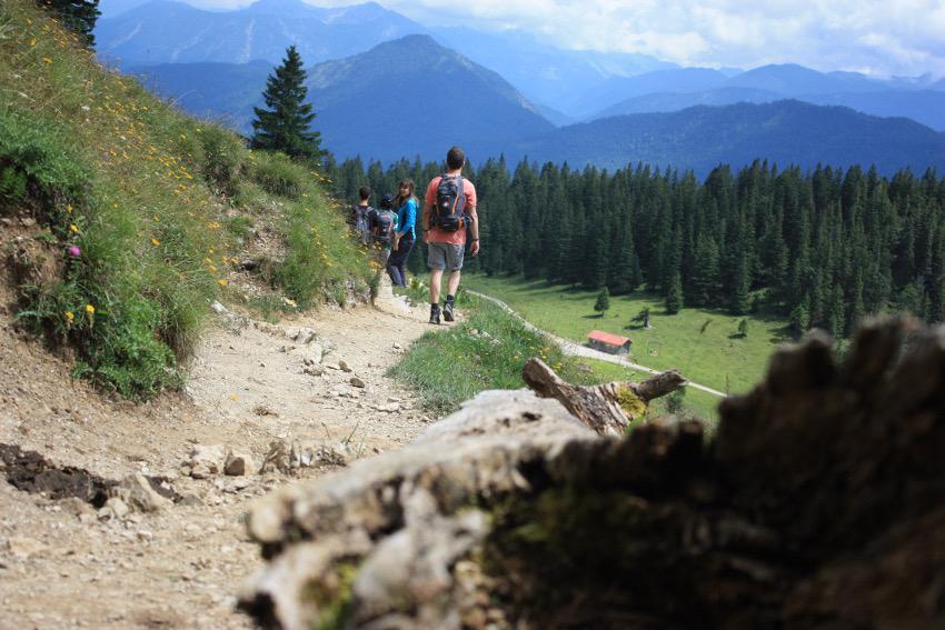 Auf dem Weg vom Jochberg-Gipfel zur Jocheralm