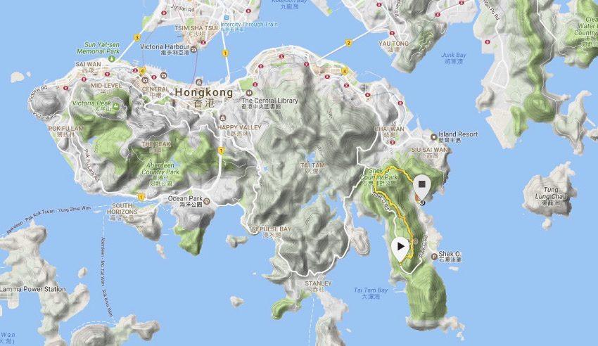 Lage und Strecke des Dragon's Back Trail auf Hongkong Island. Erstellt mit meiner Suunto Ambit 3 Sport.