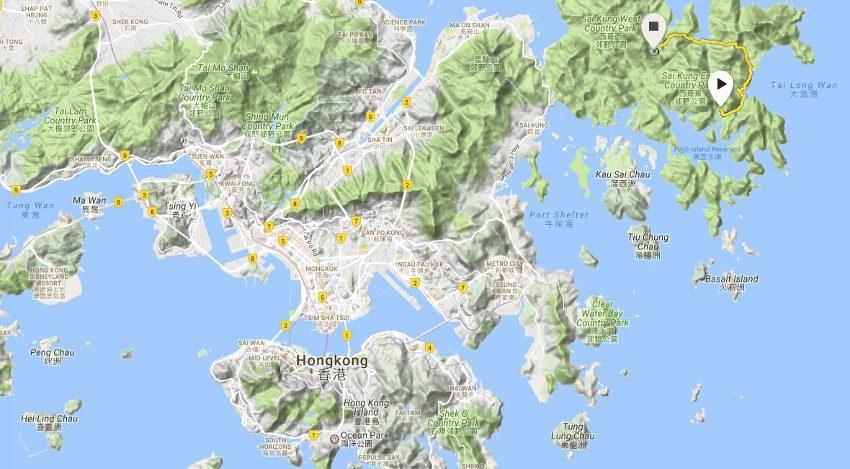 Lage und Strecke des zweiten Abschnitts des MacLehose Trail  in den New Territories von Hongkong. Erstellt mit meiner Suunto Ambit 3 Sport.